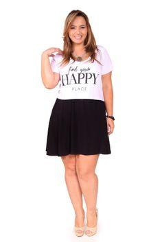 Top cropped + saia cintura alta