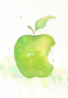 Fruit, fruit print, art, watercolor painting, watercolor art print, watercolor,Green apple----Original watercolor print 6x8