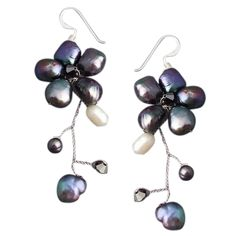 Shop for Handmade Sterling Silver Dreamy Nature Black Pearl Flower Earrings (Thailand). Get free delivery On EVERYTHING* Overstock - Your Online Jewelry Destination! Flower Choker, Pearl Flower, Flower Earrings, Dangle Earrings, Crystal Flower, Tahitian Black Pearls, Handmade Sterling Silver, Argent Sterling, Necklace Lengths