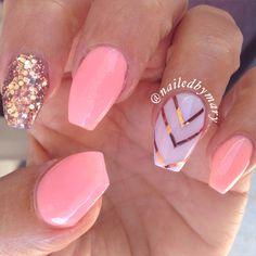 Peachy rose gold foil coffin ballerina acrylic nails