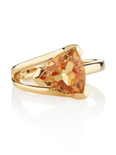 Gold plated sterling silver ring featuring a sparkling Citrine stone.