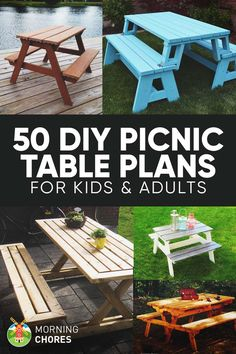 50 Free DIY Picnic Table Plans and Ideas that Will Bring Your Family Together via @morningchores