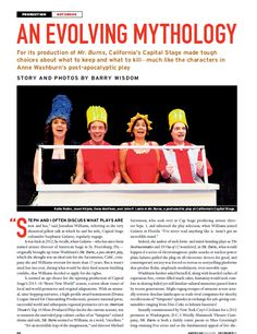 """Wisdom, Barry. """"An Evolving Mythology: How 'Mr. Burns' Challenged Capital Stage and Its Audience."""" Rev. of Mr. Burns: A Post Electric Play, dir. Michael Stevenson. American Theatre 32 10 (2015): 20-24. Print."""
