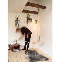 Indoor swing by Eilif Dahl  #swing #indoorswing #wood #furniture #scandinaviandesign
