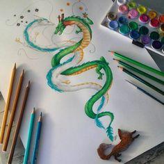 Spirited Away Dragon, Tattoo Samurai, Fighting Tattoo, Chihiro Y Haku, Sketch Inspiration, Ink Illustrations, Easy Drawings, Dragon Ball Z, Anime Art