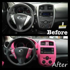 PlastiDip interior of 2016 Nissan Versa SV in Fierce Pink