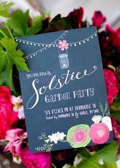Summer solstice party invitation. Had so much fun adding in the gold leaf details on this one!