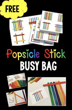 Popsicle Stick printable pattern cards FREE - perfect busy bag or classroom center activity.Popsicle Stick printable pattern cards FREE - perfect busy bag or classroom center activity. Quiet Time Activities, Alphabet Activities, Educational Activities, Toddler Activities, Learning Activities, Preschool Activities, Kindergarten Games, Family Activities, Activities For 3 Year Olds