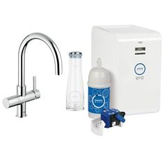 GROHE Blue Chilled and sparkling water kitchen faucet. Talk about full featured!!