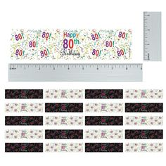 Multi-Colored 80th Birthday Party Water Bottle Labels (Set of 20)-Distinctivs