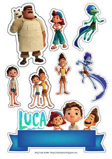Disney Pixar, Disney Characters, Fictional Characters, Luca, 3rd Birthday, Cake Toppers, Decoupage, Tags, Pastel