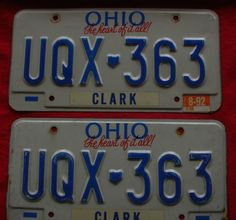 "1991 Ohio License Plate Pair "" The Heart Of It All ""   - UQX-363"