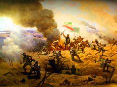 Iranian Revolutionary Guards overrunning an Iraqi bunker, Iran-Iraq War, 1986