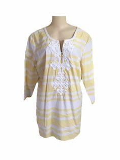 NWT Basic Editions White Yellow Striped 3/4 Sleeve Tunic Blouse Size XL  | eBay