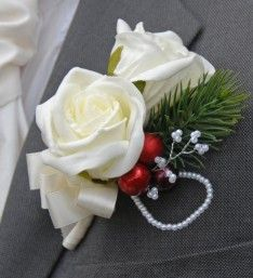 Christmas Themed Wedding Buttonhole with Berries & Spruce