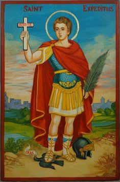 Saint Expeditus Hand-Painted Roman Catholic Icon