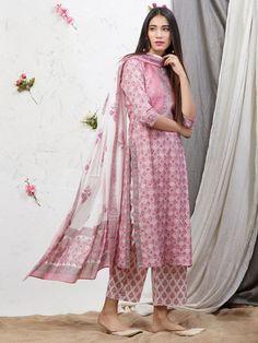 Best 12 Pink Hand Block Printed Cotton Kurta with Palazzo and Mulmul Dupatta – Set of 3 Pakistani Fashion Casual, Pakistani Dress Design, Dress Indian Style, Indian Dresses, Indian Wear, Ethnic Outfits, Indian Outfits, Printed Kurti Designs, Kurta Palazzo