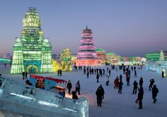 The city of Harbin in Northeast China transforms into a magical winter wonderland, complete with twinkling lights and dreamily coloured backdrops on an annual basis. The Harbin International Ice and Snow Sculpture Festival, has been held since 1963 and is the biggest festival of its kind.