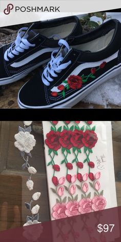 CUSTOM rose patch old skool vans *not my pictures* they will be ordered separately and ironed on so you'll have to be patient. lmk what color patch you want before purchasing :) Vans Shoes