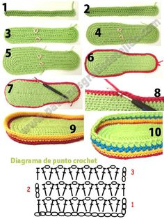 Tutorial of woven footwear with Ganchiillo and crochet ergahandmade: Crochet Μoccasins + Diagram + Free Pattern Step By Step Crochet Slipper Boots, Crochet Slipper Pattern, Crochet Sandals, Knit Shoes, Crochet Slippers, Crochet Patterns, Crochet Woman, Diy Crochet, Crochet Baby