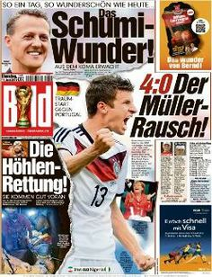 """Bild (Germany), after the 4-0 match: """"Müller-Rausch!"""" (The Müller-intoxication)"""
