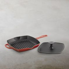 Le Creuset Signature Cast-Iron Square Grill Pan & Press Set | Williams-Sonoma