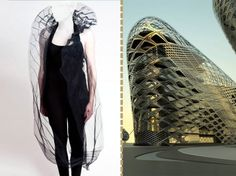 To raise money for the World Wildlife Foundation, British architect Zaha Hadid borrowed a page from her own playbook. Frozen Aura, a flowing . Zaha Hadid Design, Green Fashion, Fashion Art, Office Color, Architect Fashion, Balenciaga, Architecture People, Fashion Architecture, Architect Logo