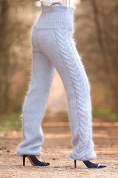 Made to order hand cable knit fuzzy mohair pants by supertanya