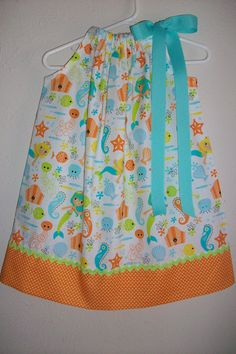 Pillowcase Dress with Mermaid and Ocean Animals Girls Dress Under the Sea Dress Beach Party Dress with Seahorse baby dress toddler dress by lilsweetieboutique on Etsy https://www.etsy.com/listing/223528627/pillowcase-dress-with-mermaid-and-ocean