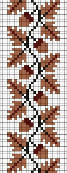 Trees oak tree with acorns cross stitch.