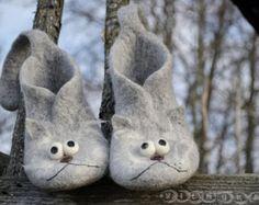 Fieltro pantuflas ranas cálido y divertido lana por VILNUKAI