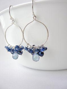 Kyanite Earrings Sterling Silver Hoops by BlueRoomGems, $89.00 #jewelry #blue #gemstone #kyanite #hoops #earrings #SterlingSilver