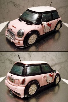 Any Hello Kitty Fans? Check Out This Hello Kitty Mini Cooper Cake! Fancy Cakes, Cute Cakes, Pretty Cakes, Awesome Cakes, Mini Cooper Cake, Cooper Car, Mini Cupcakes, Cupcake Cakes, 3d Cakes