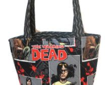 The Walking Dead bag, TWD fabric bag, The Walking Dead, zombie handbag, Walking Dead purse, tote bag, quilted bag, The Walking Dead, geeky