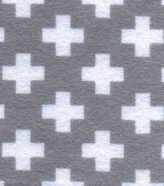 Snuggle Flannel Fabric-Grey Plus Signs