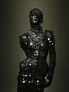 Captured in black armor ~ Photographer Pierre Dal Corso, haute couture, avant garde, fashion.
