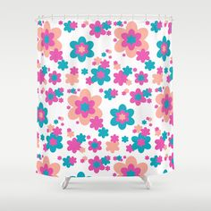 Teal Blue, Hot Pink, and Coral Floral Shower Curtain. Add matching pillow, area rug, duvet, clock, and wallpaper border #decampstudios