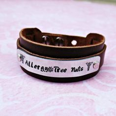 Allergy Medical Alert Brown Leather Cuff Bracelet - Personalized - Your Choice of Words - Hand Stamped - Metal Stamped - Medical ID…