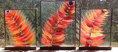 Stained Glass Botanical Window Hanging Three Sumacs