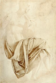"""'Drapery Study for the Erythraean Sibyl for the Sistine Ceiling (recto); Figure study (verso)' by Michelangelo, depicting a seated figure with fabric draped over its lap. Seen at The Met, """"Michelangelo: Divine Draftsman and Designer,"""" Drapery Drawing, Fabric Drawing, Painting & Drawing, Michelangelo, Life Drawing, Figure Drawing, High Renaissance, Drawing Studies, Art Graphique"""
