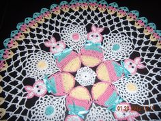 Easter bunnys hand crochet doily, beautiful center piece for your easter table
