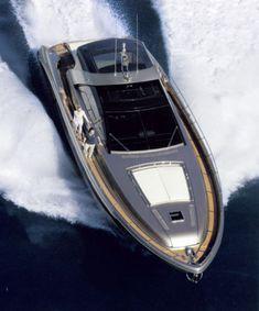 Sleek silver Riva yacht 2005 _