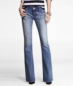Express Womens Stella Regular Fit Boot Cut Jean Dark, 00 Long ...