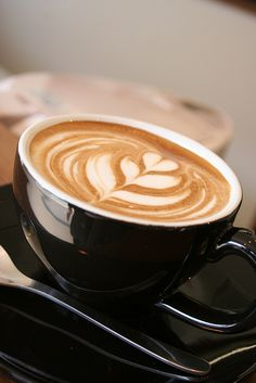 Latte art of today (tulip) - I also hope to along with being a backup dancer work part time in a cafe to help pay for my city ap - Coffee Latte Art, I Love Coffee, Espresso Coffee, Coffee Cafe, Best Coffee, Coffee Break, My Coffee, Coffee Drinks, Morning Coffee