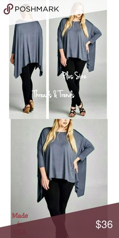 Grey Poncho Top Plus size grey Poncho, with long sleeves. Perfect for pairing with leggings, skirts, or pants. Made of rayon and spandex. Threads & Trends Tops