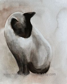 Watercolour Siamese cat