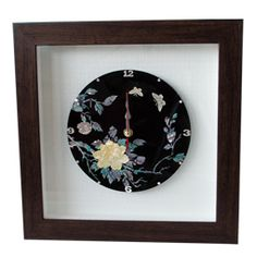 Mother of Pearl Wood Square Wall Clock with Peony Design