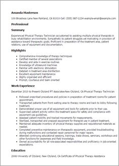 Resume For Physical Therapist Physical Therapist Resume Example  Cover Letter And Resume .