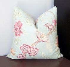 Gorgeous pillow made from Covington Water Garden/Duckegg fabric with birds and florals agains soft blue textured linen background. This vintage/cottage