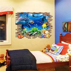 Home Decor Wall Sticker Underwater World Animal Floor Decal Decoration Bedroom Art